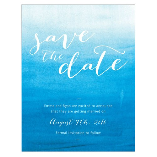 Aqueous Wedding Save The Date Card