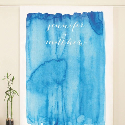 Aqueous Personalized Wedding Photo Booth Backdrop