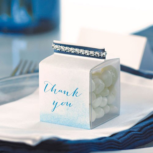 Aqueous Wedding Favor Box Wrap with Fold