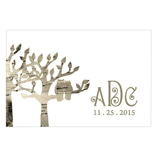 Owl Silhouette in Tree Wedding Large Rectangular Tag