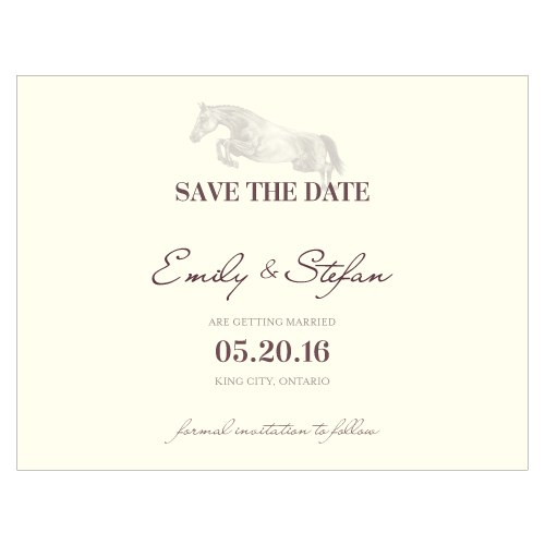 Equestrian Love Wedding Save The Date Card