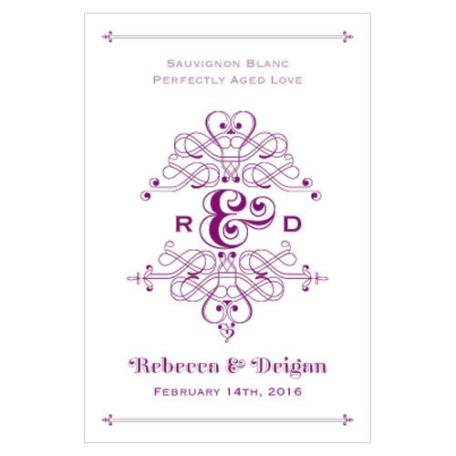 Fanciful Monogram Wedding Wine Label