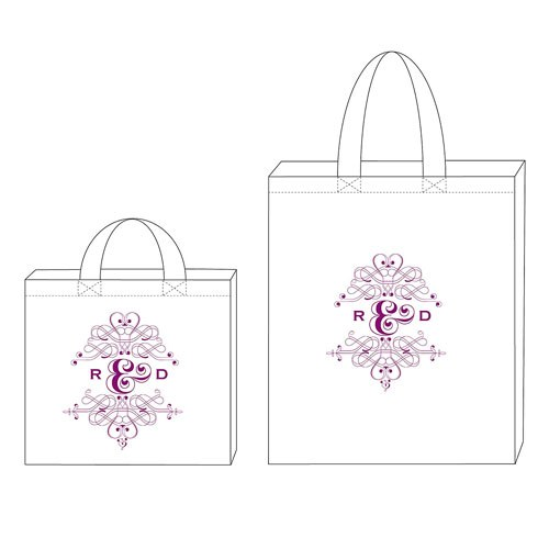 Monogram With Flourishes Wedding Signature Personalized 100% Cotton Twill Tote Bag