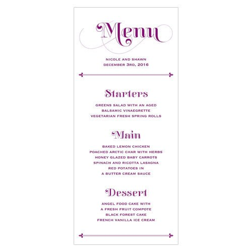 Fanciful Monogram Wedding Menu
