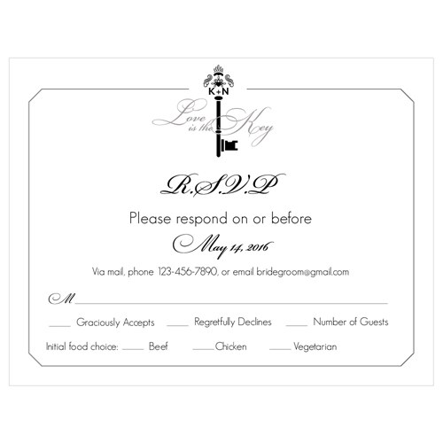 Key Monogram Wedding Signature Wedding RSVP