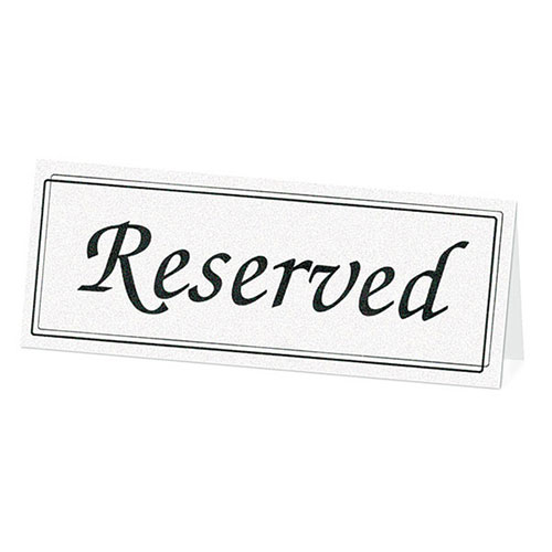 White Wedding Reception Table Reserve Cards