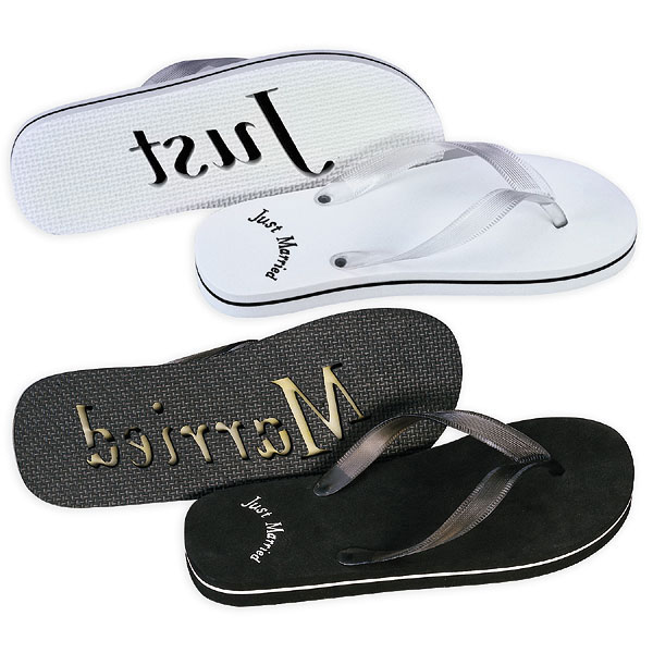 Just Married Wedding Favor Flip Flops - Black and White