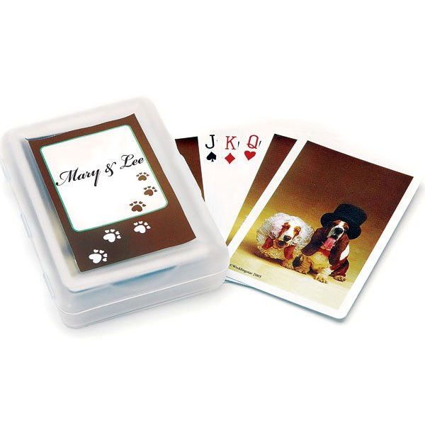 Bride And Groom Hound Dogs Playing Cards Wedding Favor
