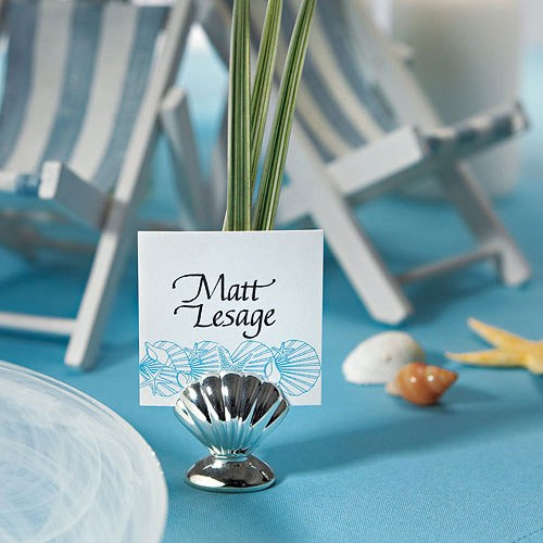 Silver Sea Shell Wedding Place Card Holders