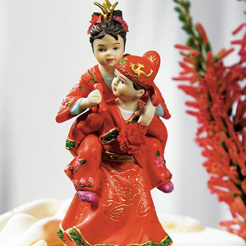 Cute Asian Couple in Traditional Wedding Attire Cake topper