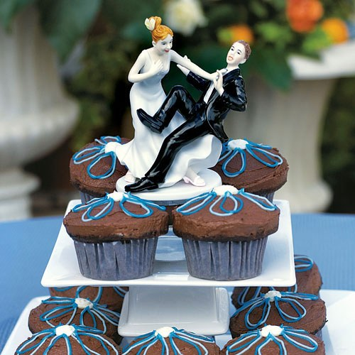 Comical Couple with the Groom Taking a Plunge Wedding Cake topper