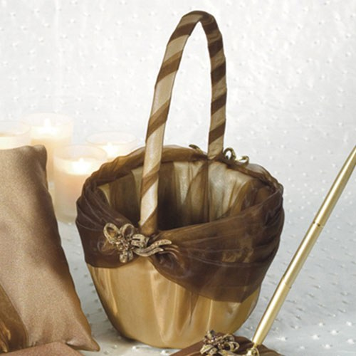 Bronze Elegance Wedding Flower Girl Basket