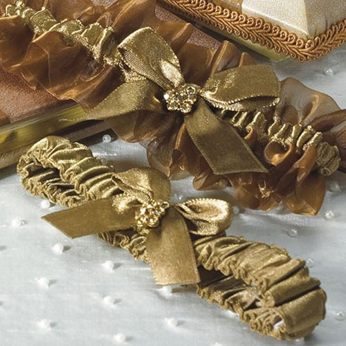 Why Two Garters For Wedding: Elegant Bronze Wedding Garter Set