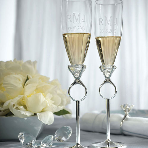Wedding or Engagement Champagne Glasses - The Knot Shop