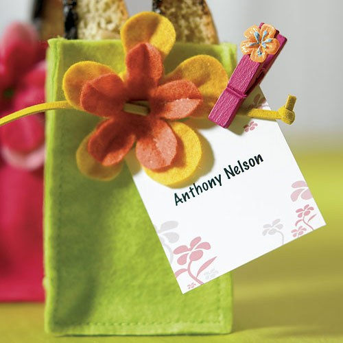 tropical wooden clip wedding favors