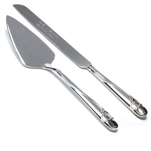 Silver Plated Wedding Cake Serving Set with Raised Loop Heart