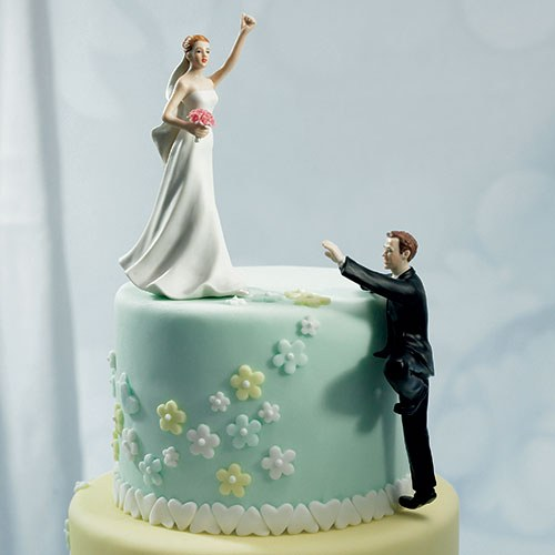 Climbing Groom and Victorious Bride Mix and Match Wedding Cake Toppers