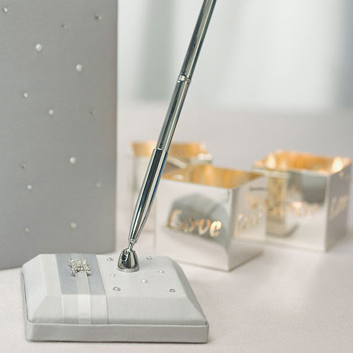 Platinum By Design Satin Wrapped Wedding Guest Book Pen Set