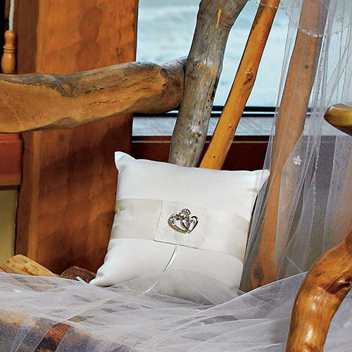 Classic Double Heart Square Wedding Ceremony Ring Pillow