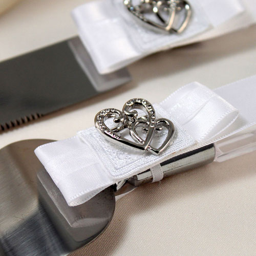 Classic Double Heart Wedding Cake Serving Set
