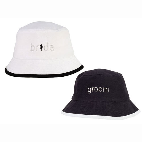 Brushed Cotton Twill Wedding Bride and Groom Crusher Hats