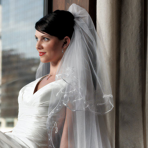 Embroidered Border Bridal Veil