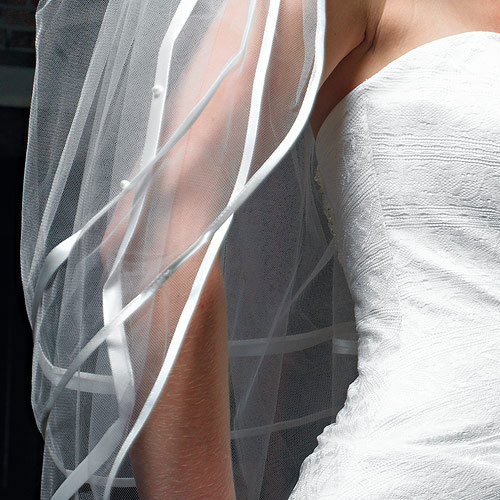 Double Border of Satin Ribbon and Pearls Bridal Veil