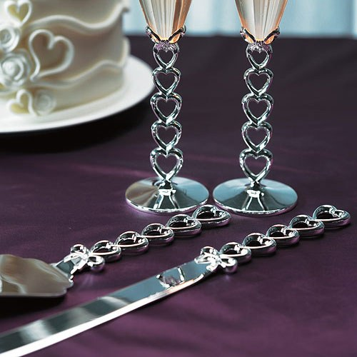 Silver Plated Stacked Hearts Wedding Reception Cake Serving Set