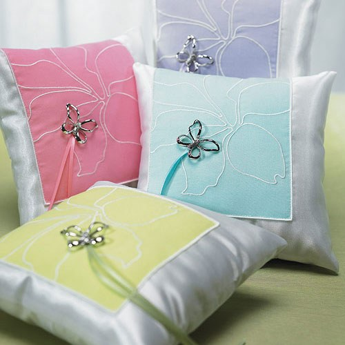 Butterfly Dreams Square Wedding Ceremony Ring Pillow