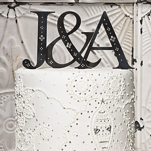Brushed Silver Monograms with Crystals Wedding Cake topper