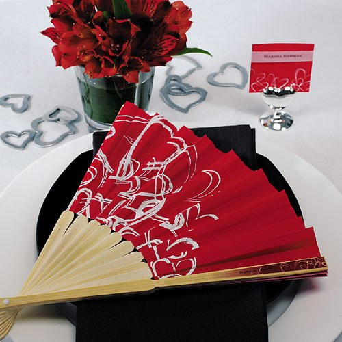 contemporary hearts wedding favor hand fans fuchsia