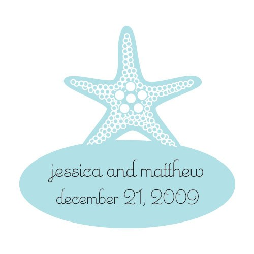 Starfish Shaped Wedding Favor Stickers