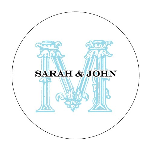 Ornamental Baroque Monogram Wedding Favor Stickers