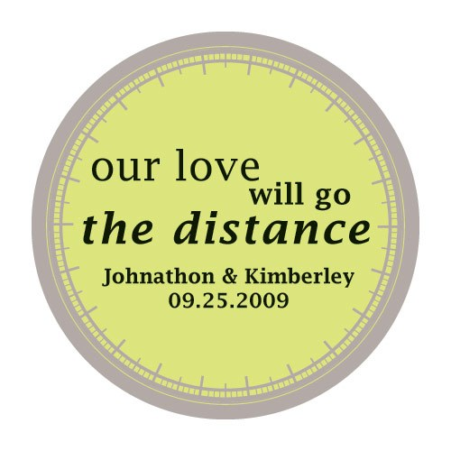 Our Love Will Go the Distance Favor Stickers