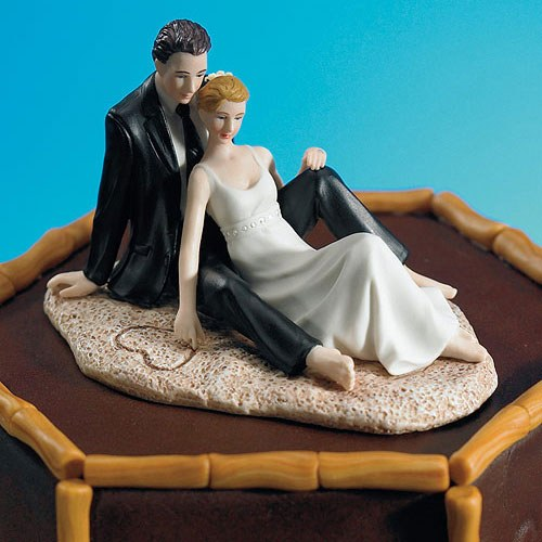 Romantic Couple Lounging on the Beach Wedding Cake Topper