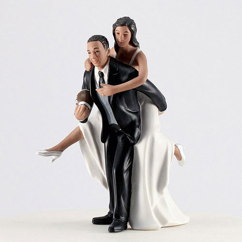 Football Bride And Groom Cake Topper - The Knot Shop-3826