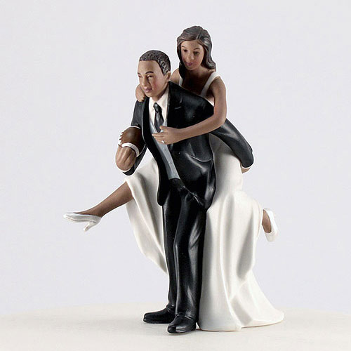 Football Bride and Groom Cake Topper - The Knot Shop