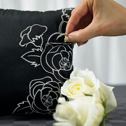 Silhouettes In Bloom Square Wedding Ceremony Ring Pillow