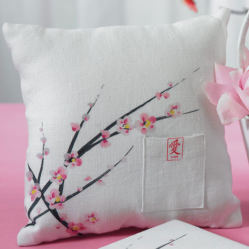 Cherry Blossom Square Wedding Ceremony Ring Pillow