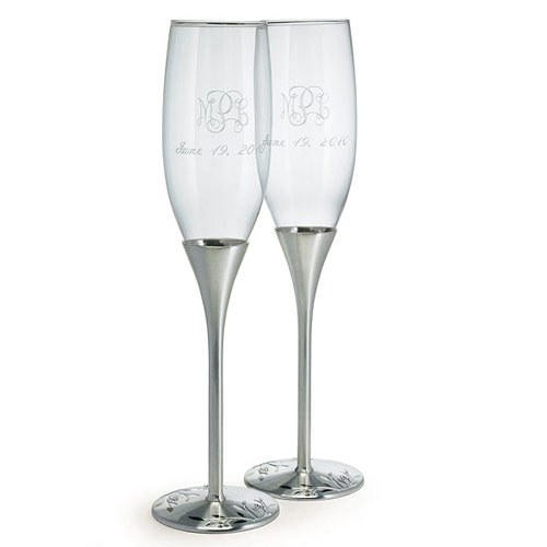 silver champagne flutes with swarovski crystal the knot shop. Black Bedroom Furniture Sets. Home Design Ideas