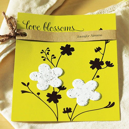Personalized Wedding Favor Card Love Blossoms