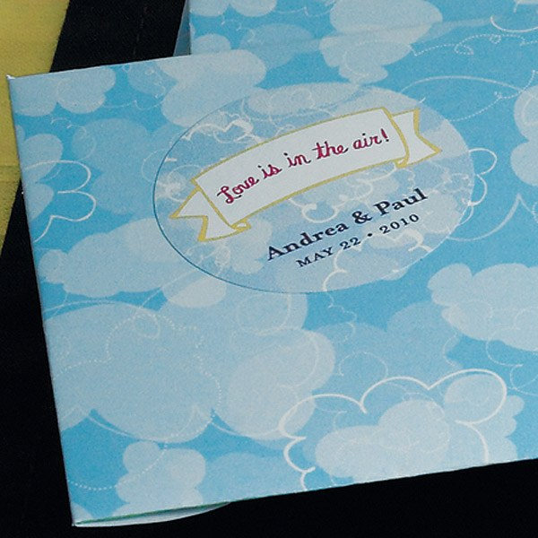 love is in the air round wedding favor sticker