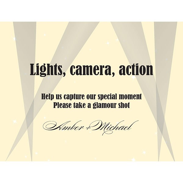 Hollywood Wedding Camera Table Signs