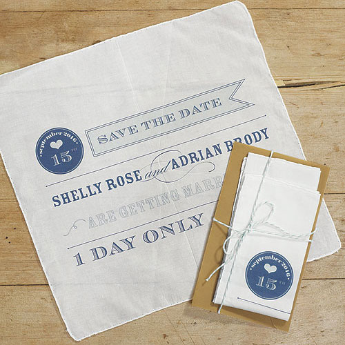 Play Bill Save The Date Personalized Wedding Handkerchief