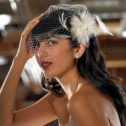 Feather and Chiffon Floral Bridal Hair Accessory