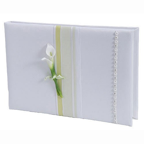 Bridal Beauty Calla Lily Traditional Wedding Reception Guest Book