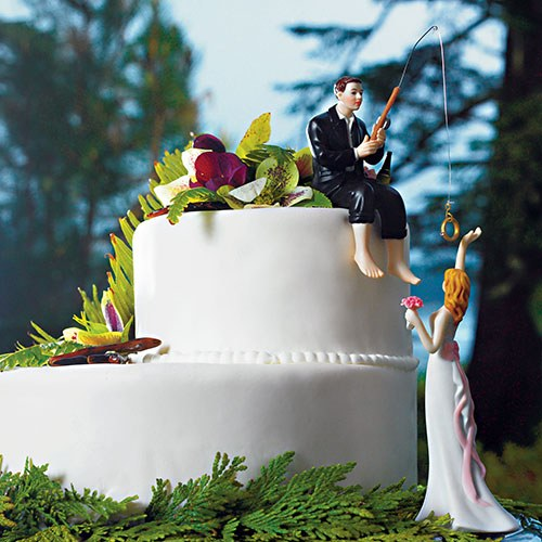 Groom Hooked on Love Theme Wedding Cake Topper