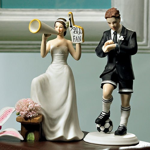 Number 1 Fan Cheering Bride Wedding Cake topper