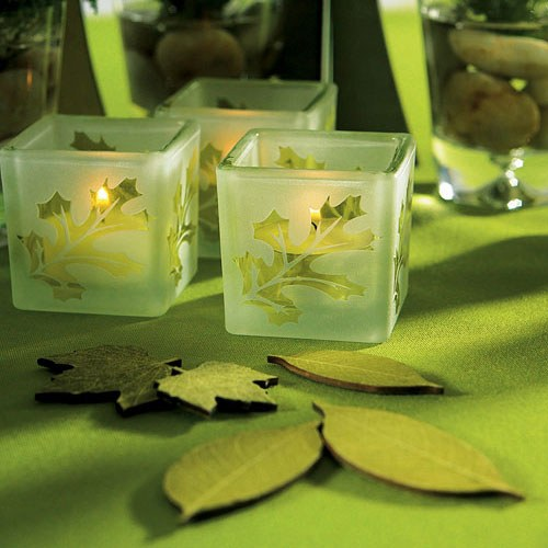 Deep Sandblasted Glass Leaf Cube Wedding Tea Light Candle Holders