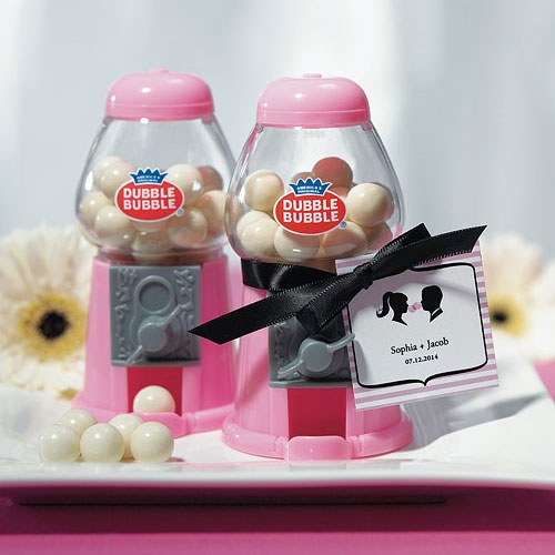 classic wedding favor gumball machine in pink w/ gum